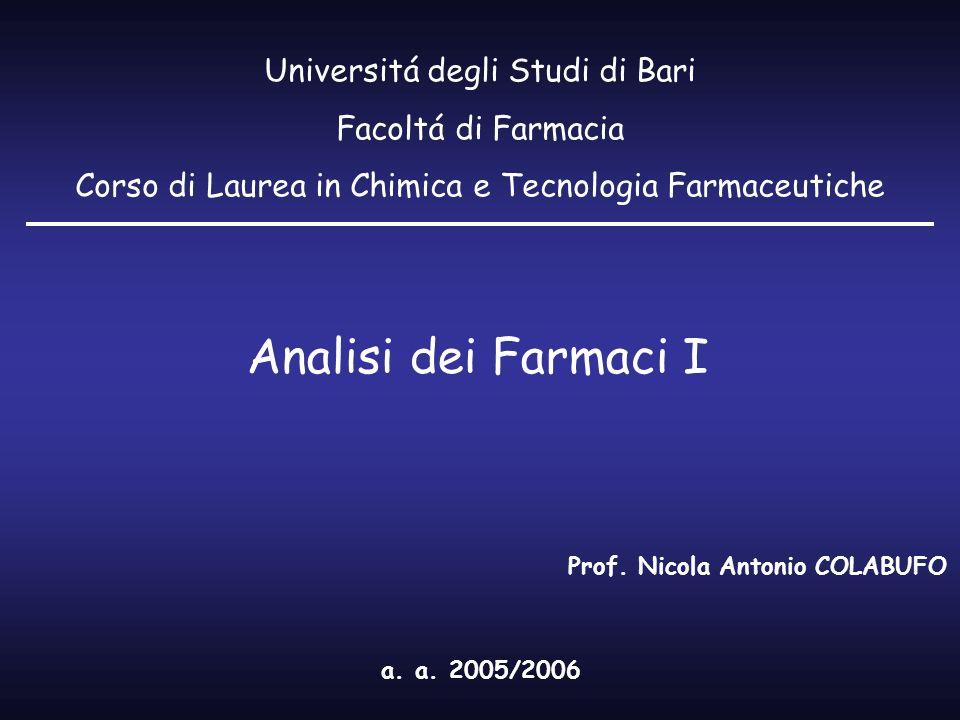 Analisi dei Farmaci I Universitá degli Studi di Bari Facoltá di Farmacia Corso di Laurea in Chimica e Tecnologia Farmaceutiche a. a. 2005/2006 Prof. N