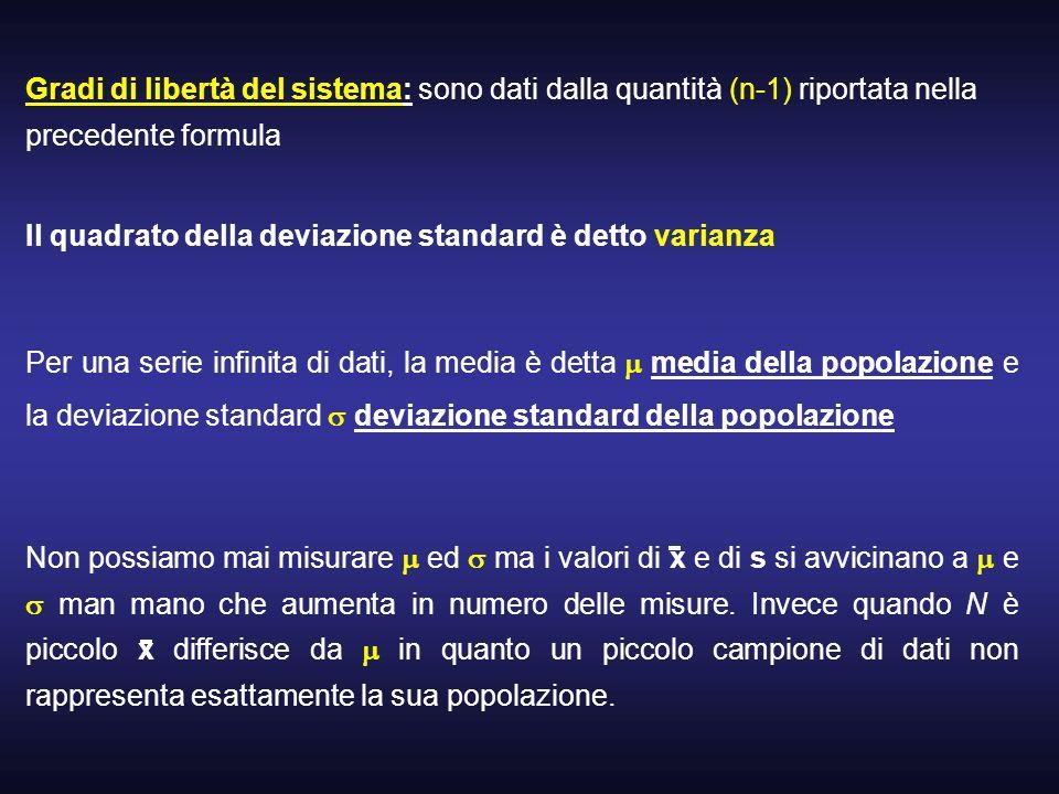 Gradi di libertà del sistema: sono dati dalla quantità (n-1) riportata nella precedente formula Il quadrato della deviazione standard è detto varianza