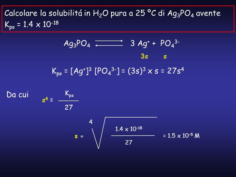 Calcolare la solubilitá in H 2 O pura a 25 ºC di Ag 3 PO 4 avente K ps = 1.4 x 10 -18 Ag 3 PO 4 3 Ag + + PO 4 3- 3ss K ps = [Ag + ] 3 [PO 4 3- ] = (3s