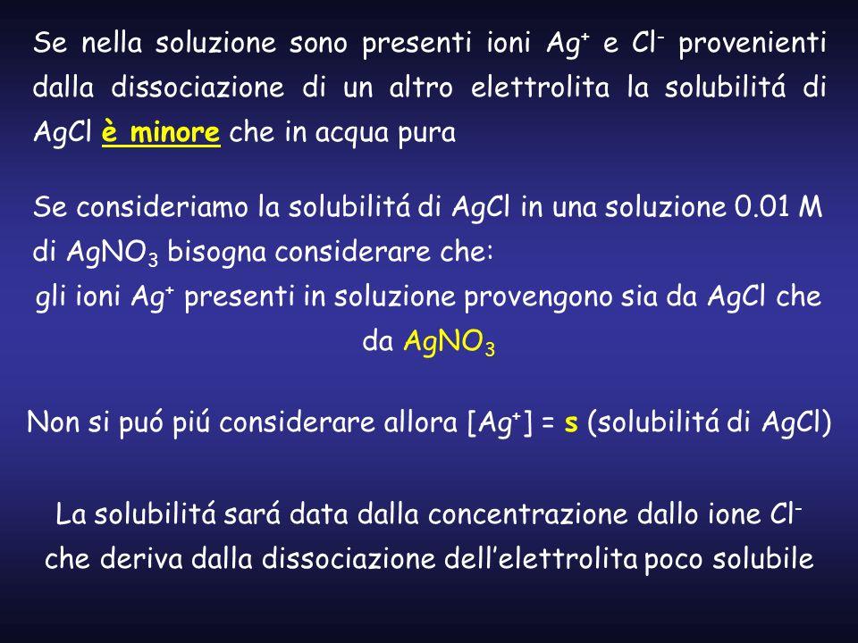 Se nella soluzione sono presenti ioni Ag + e Cl - provenienti dalla dissociazione di un altro elettrolita la solubilitá di AgCl è minore che in acqua