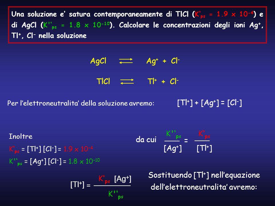 Una soluzione e satura contemporaneamente di TlCl (K ps = 1.9 x 10 -4 ) e di AgCl (K' ps = 1.8 x 10 -10 ). Calcolare le concentrazioni degli ioni Ag +