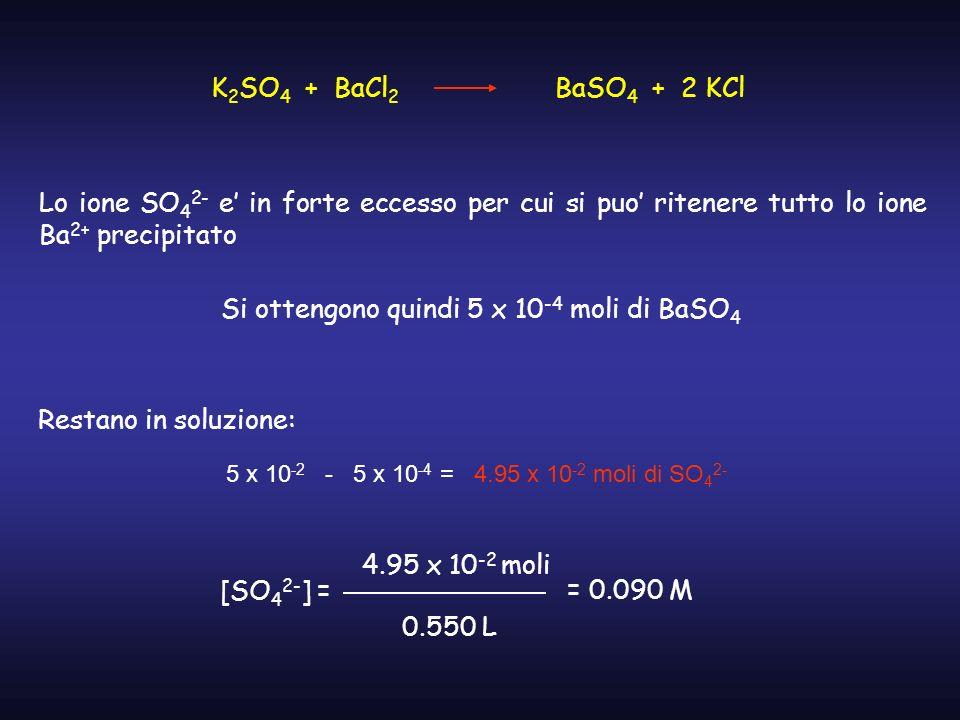 Lo ione SO 4 2- e in forte eccesso per cui si puo ritenere tutto lo ione Ba 2+ precipitato K 2 SO 4 + BaCl 2 BaSO 4 + 2 KCl Si ottengono quindi 5 x 10