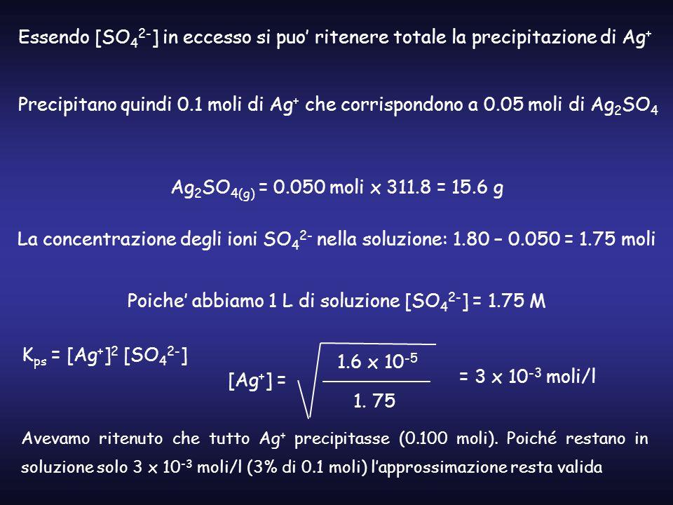 Essendo [SO 4 2- ] in eccesso si puo ritenere totale la precipitazione di Ag + Precipitano quindi 0.1 moli di Ag + che corrispondono a 0.05 moli di Ag