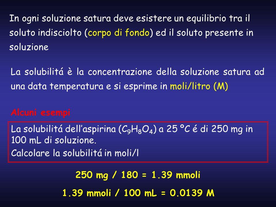 In ogni soluzione satura deve esistere un equilibrio tra il soluto indisciolto (corpo di fondo) ed il soluto presente in soluzione La solubilitá è la