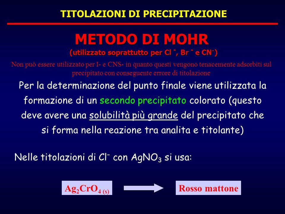 TITOLAZIONI DI PRECIPITAZIONE Per la determinazione del punto finale viene utilizzata la formazione di un secondo precipitato colorato (questo deve av