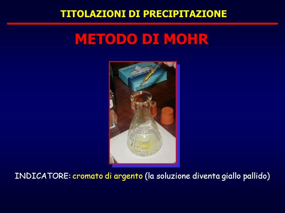 TITOLAZIONI DI PRECIPITAZIONE METODO DI MOHR INDICATORE: cromato di argento (la soluzione diventa giallo pallido)