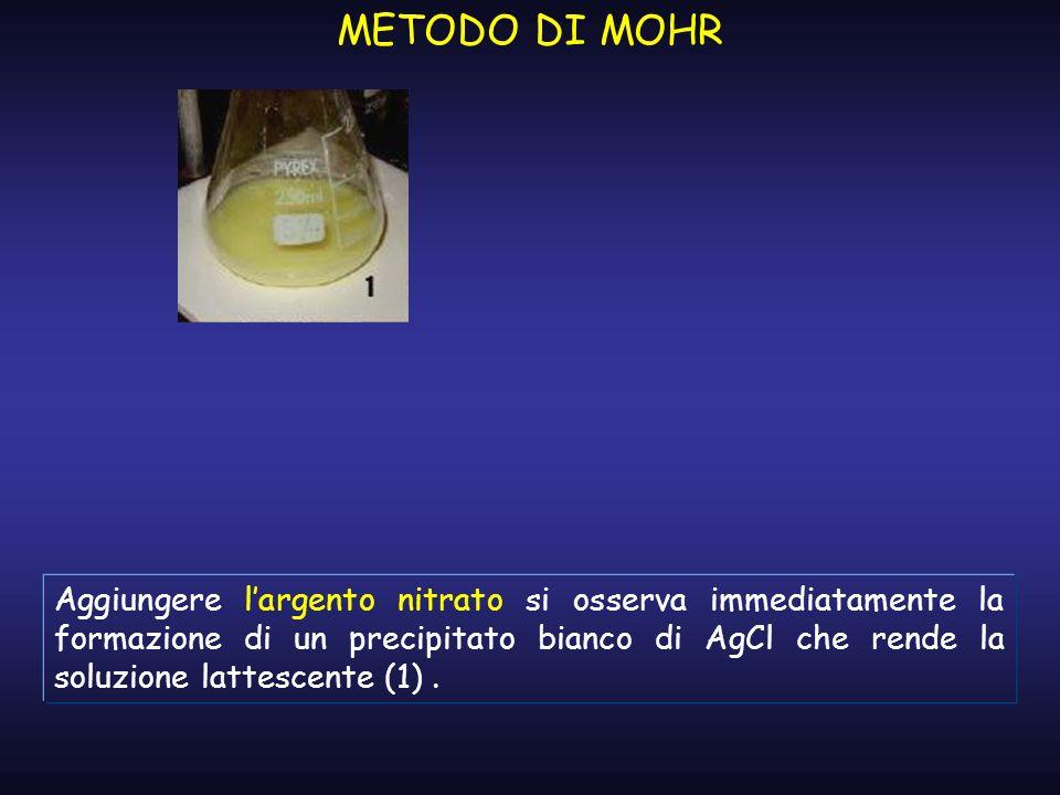 METODO DI MOHR Aggiungere largento nitrato si osserva immediatamente la formazione di un precipitato bianco di AgCl che rende la soluzione lattescente