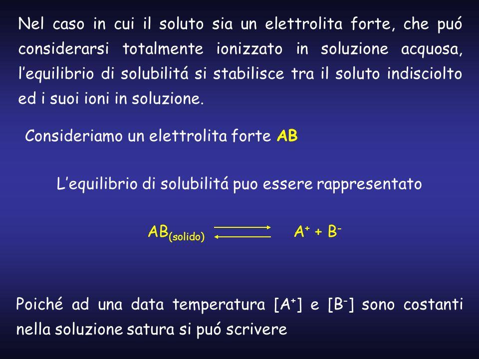 Nel caso in cui il soluto sia un elettrolita forte, che puó considerarsi totalmente ionizzato in soluzione acquosa, lequilibrio di solubilitá si stabi