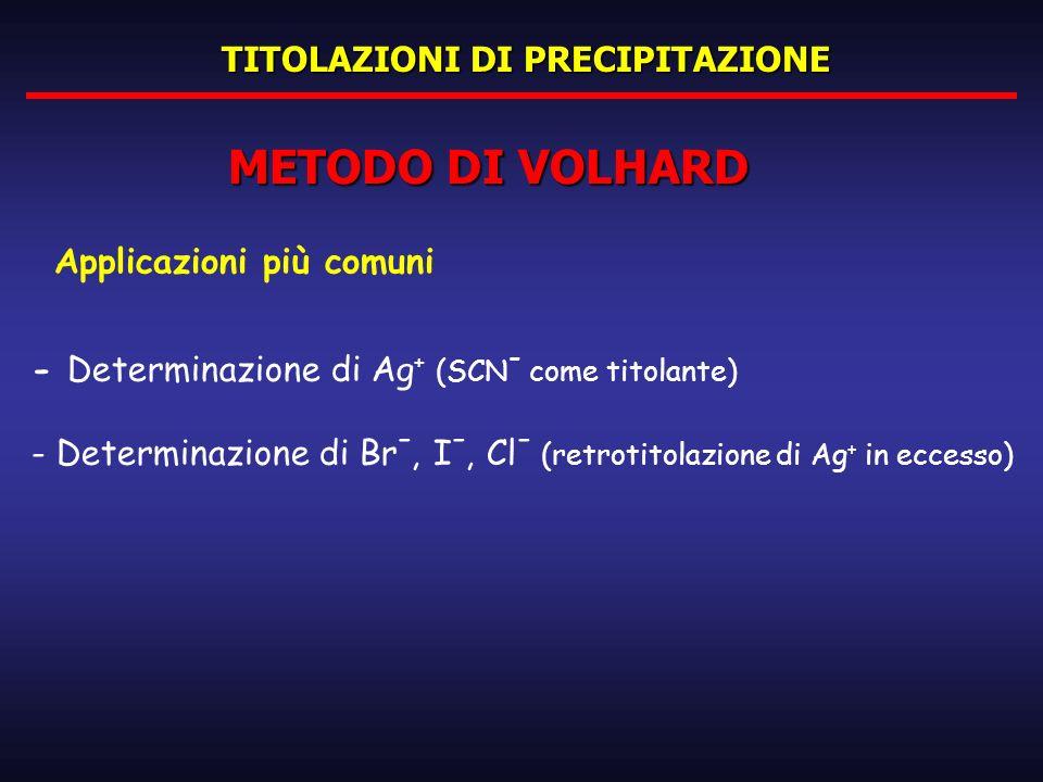 TITOLAZIONI DI PRECIPITAZIONE METODO DI VOLHARD Applicazioni più comuni - Determinazione di Ag + (SCN - come titolante) - Determinazione di Br -, I -,