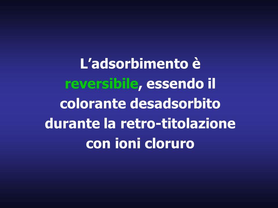 Ladsorbimento è reversibile, essendo il colorante desadsorbito durante la retro-titolazione con ioni cloruro