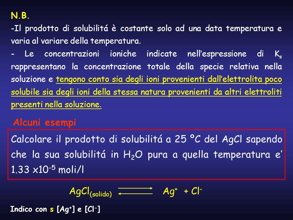 N.B. -Il prodotto di solubilitá è costante solo ad una data temperatura e varia al variare della temperatura. - Le concentrazioni ioniche indicate nel