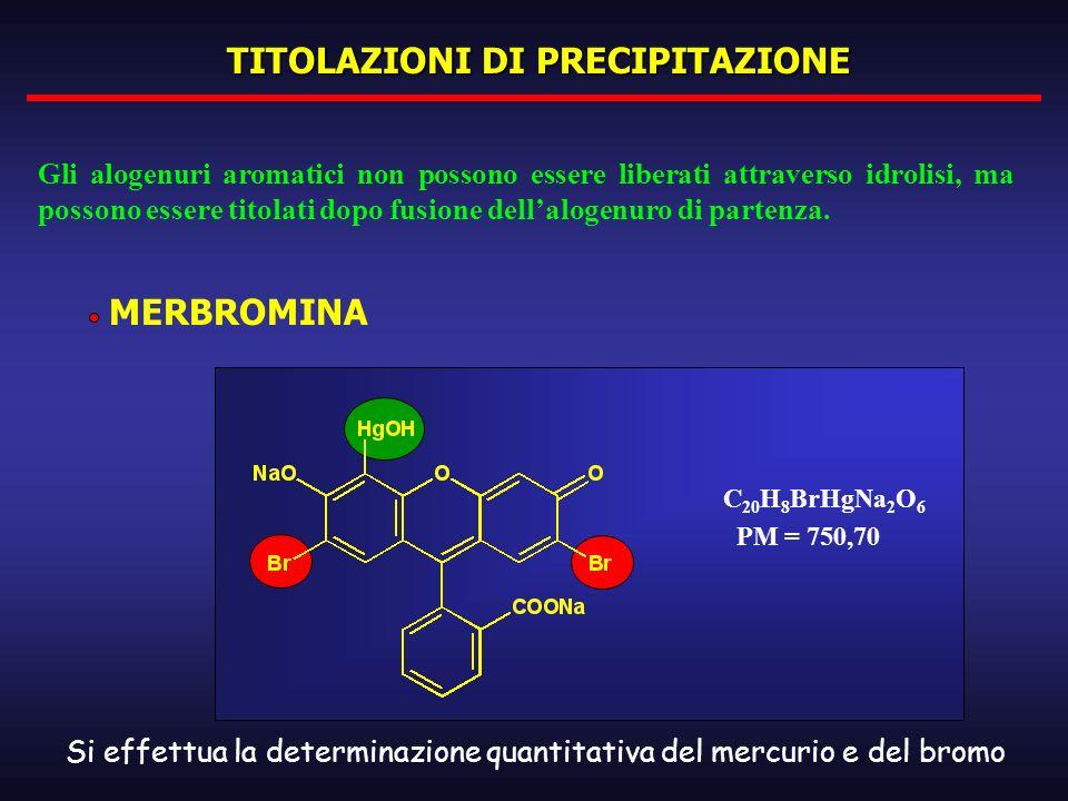 TITOLAZIONI DI PRECIPITAZIONE MERBROMINA Gli alogenuri aromatici non possono essere liberati attraverso idrolisi, ma possono essere titolati dopo fusi