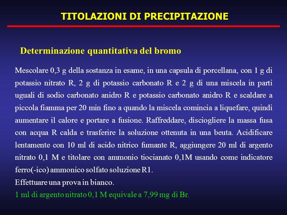 TITOLAZIONI DI PRECIPITAZIONE Mescolare 0,3 g della sostanza in esame, in una capsula di porcellana, con 1 g di potassio nitrato R, 2 g di potassio ca