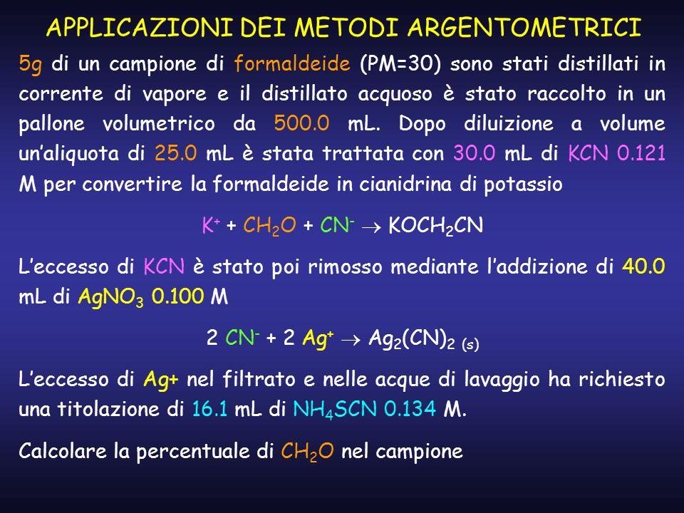 APPLICAZIONI DEI METODI ARGENTOMETRICI 5g di un campione di formaldeide (PM=30) sono stati distillati in corrente di vapore e il distillato acquoso è