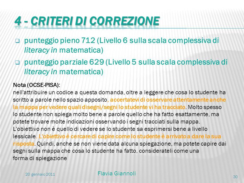 punteggio pieno 712 (Livello 6 sulla scala complessiva di literacy in matematica) punteggio parziale 629 (Livello 5 sulla scala complessiva di literac