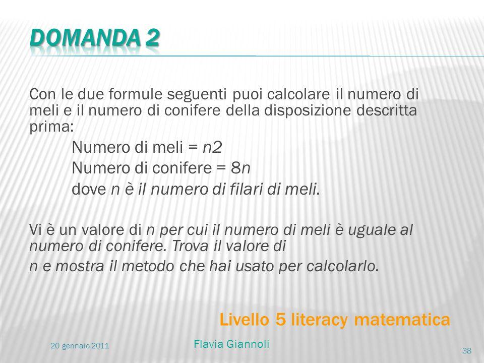 Con le due formule seguenti puoi calcolare il numero di meli e il numero di conifere della disposizione descritta prima: Numero di meli = n2 Numero di
