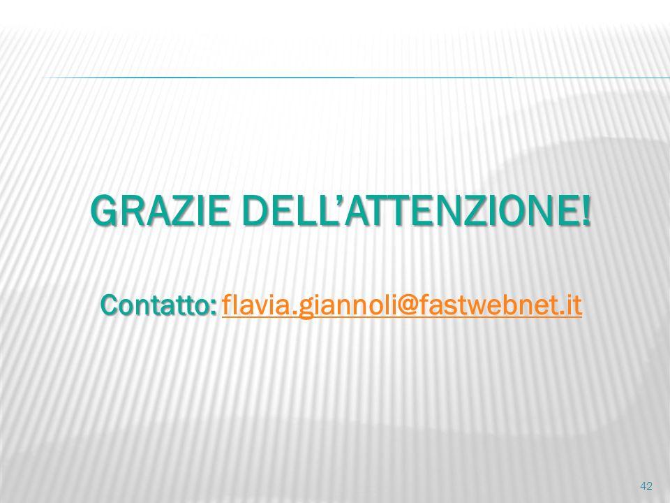GRAZIE DELLATTENZIONE! Contatto: Contatto: flavia.giannoli@fastwebnet.itflavia.giannoli@fastwebnet.it 42