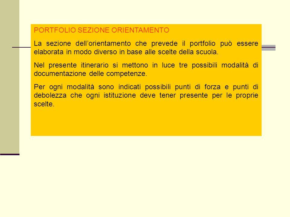 PORTFOLIO SEZIONE ORIENTAMENTO La sezione dellorientamento che prevede il portfolio può essere elaborata in modo diverso in base alle scelte della scuola.