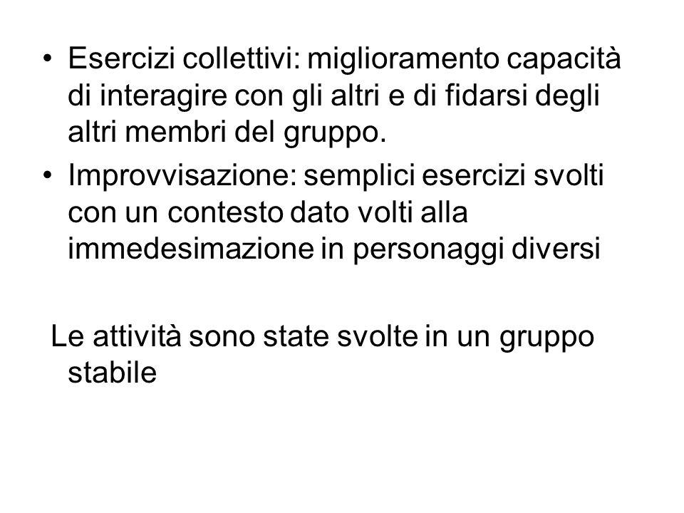 Esercizi collettivi: miglioramento capacità di interagire con gli altri e di fidarsi degli altri membri del gruppo. Improvvisazione: semplici esercizi