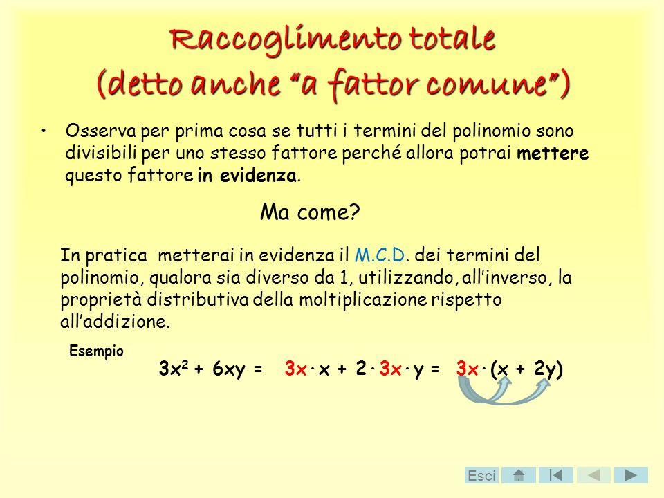 Raccoglimento totale (detto anche a fattor comune) Osserva per prima cosa se tutti i termini del polinomio sono divisibili per uno stesso fattore perc