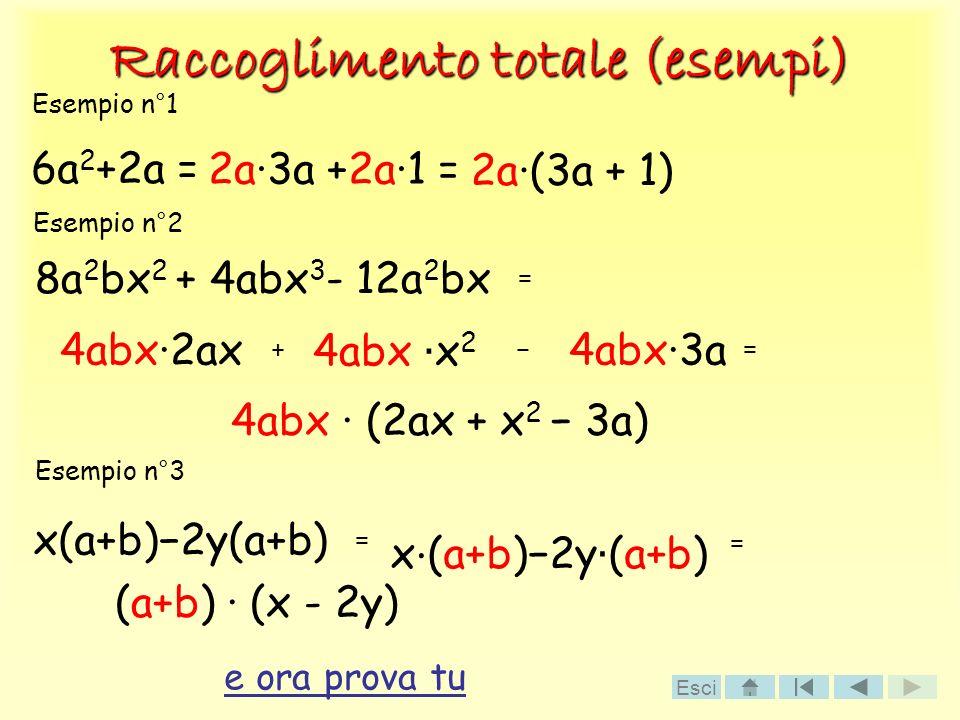 Raccoglimento totale (esempi) 6a 2 +2a = 2a3a +2a1 = 2a(3a + 1) 8a 2 bx 2 + 4abx 3 - 12a 2 bx = 4abx·2ax + 4abx x 2 4abx·3a = 4abx · (2ax + x 2 3a) x(a+b)2y(a+b) Esempio n°1 Esempio n°2 Esempio n°3 = x · (a+b)2y (a+b) = (a+b) · (x - 2y) e ora prova tu Esci