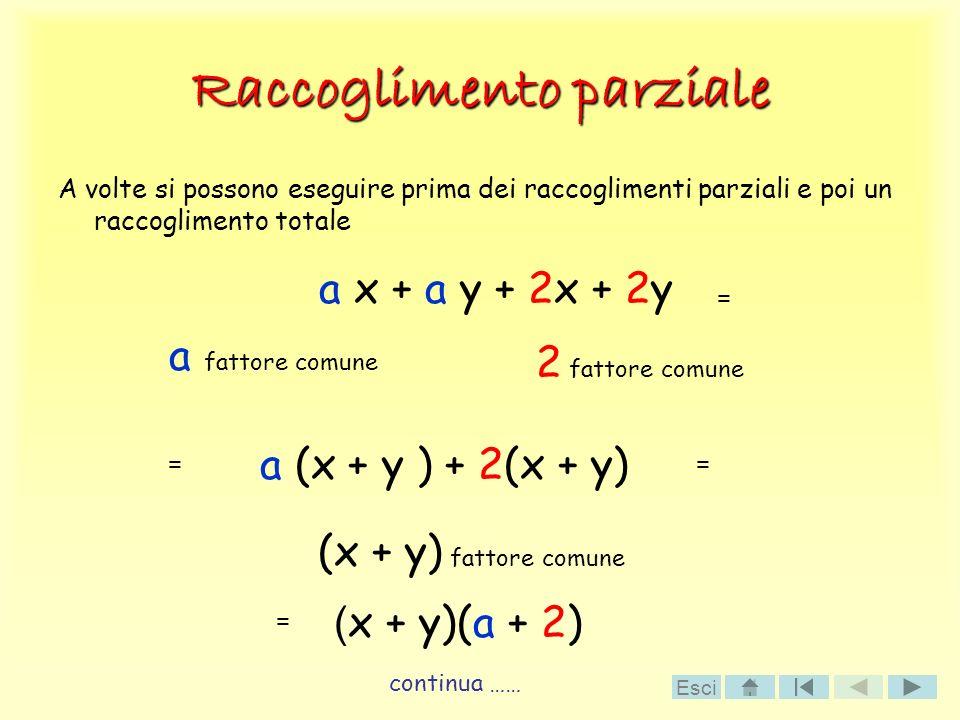 Raccoglimento parziale A volte si possono eseguire prima dei raccoglimenti parziali e poi un raccoglimento totale a x + a y + 2x + 2y a (x + y ) + 2(x
