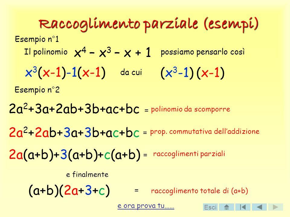 Raccoglimento parziale (esempi) x 4 – x 3 – x + 1 e ora prova tu…… Il polinomiopossiamo pensarlo così x 3 (x-1)-1(x-1) da cui (x 3 -1) (x-1) Esempio n