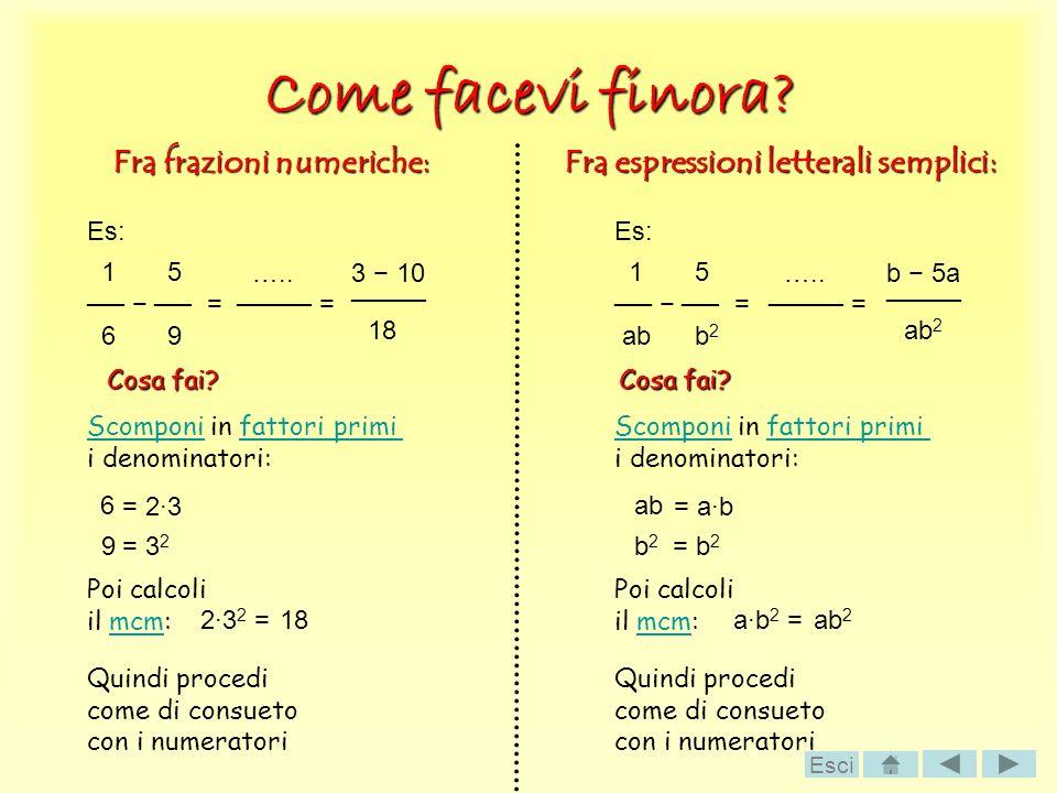 Come facevi finora? Fra frazioni numeriche: Fra espressioni letterali semplici: Es: 1 5 = 6 9 = ….. Es: 1 5 = ab b 2 b 5a ab 2 Cosa fai? ScomponiScomp