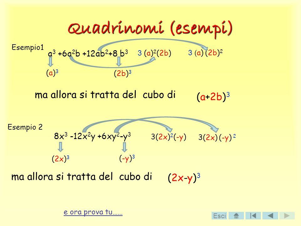 Quadrinomi (esempi) ma allora si tratta del cubo di a 3 +6a 2 b +12ab 2 +8 b 3 Esempio1 (a)3(a)3 (2b) 3 3 (a) 2 (2b) 3 ( a) (2b) 2 (a+2b) 3 Esempio 2