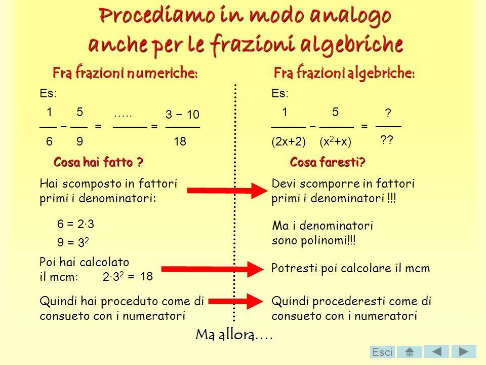 Procediamo in modo analogo anche per le frazioni algebriche Fra frazioni algebriche: Fra frazioni numeriche: Es: 1 5 = 6 9 = ….. Cosa hai fatto ? Hai