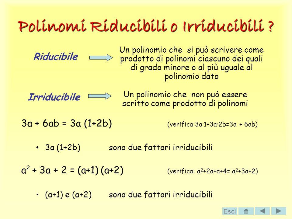 Polinomi Riducibili o Irriducibili ? 3a + 6ab = 3a (1+2b) (verifica:3a·1+3a·2b=3a + 6ab) 3a (1+2b) sono due fattori irriducibili a 2 + 3a + 2 = (a+1)