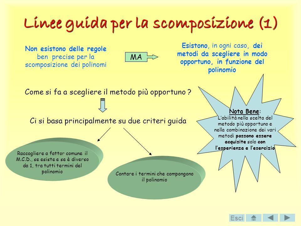Linee guida per la scomposizione (1) Non esistono delle regole ben precise per la scomposizione dei polinomi MA Esistono, in ogni caso, dei metodi da