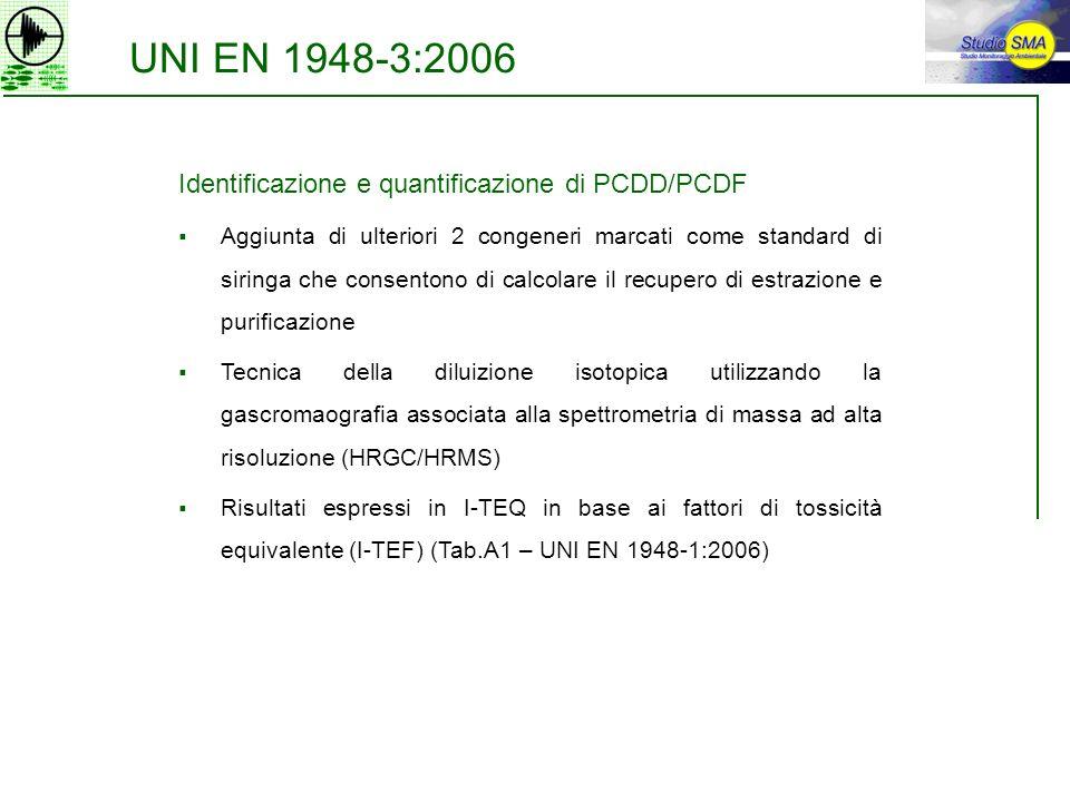 UNI EN 1948-3:2006 Identificazione e quantificazione di PCDD/PCDF Aggiunta di ulteriori 2 congeneri marcati come standard di siringa che consentono di
