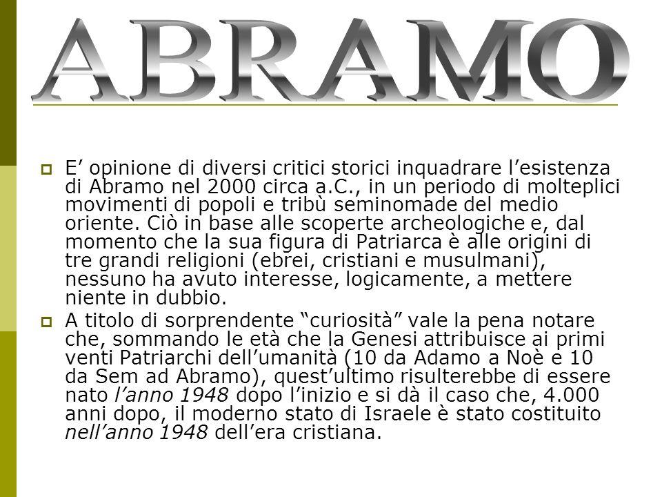 E opinione di diversi critici storici inquadrare lesistenza di Abramo nel 2000 circa a.C., in un periodo di molteplici movimenti di popoli e tribù sem