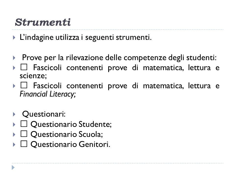 Strumenti Lindagine utilizza i seguenti strumenti.