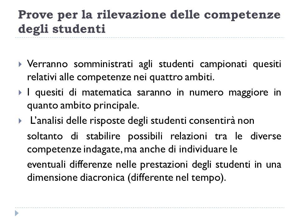 Prove per la rilevazione delle competenze degli studenti Verranno somministrati agli studenti campionati quesiti relativi alle competenze nei quattro ambiti.