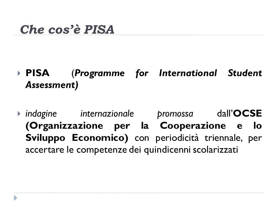 Che cosè PISA PISA (Programme for International Student Assessment) indagine internazionale promossa dallOCSE (Organizzazione per la Cooperazione e lo Sviluppo Economico) con periodicità triennale, per accertare le competenze dei quindicenni scolarizzati
