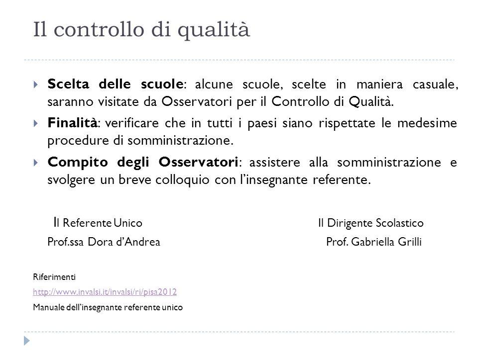Il controllo di qualità Scelta delle scuole: alcune scuole, scelte in maniera casuale, saranno visitate da Osservatori per il Controllo di Qualità.