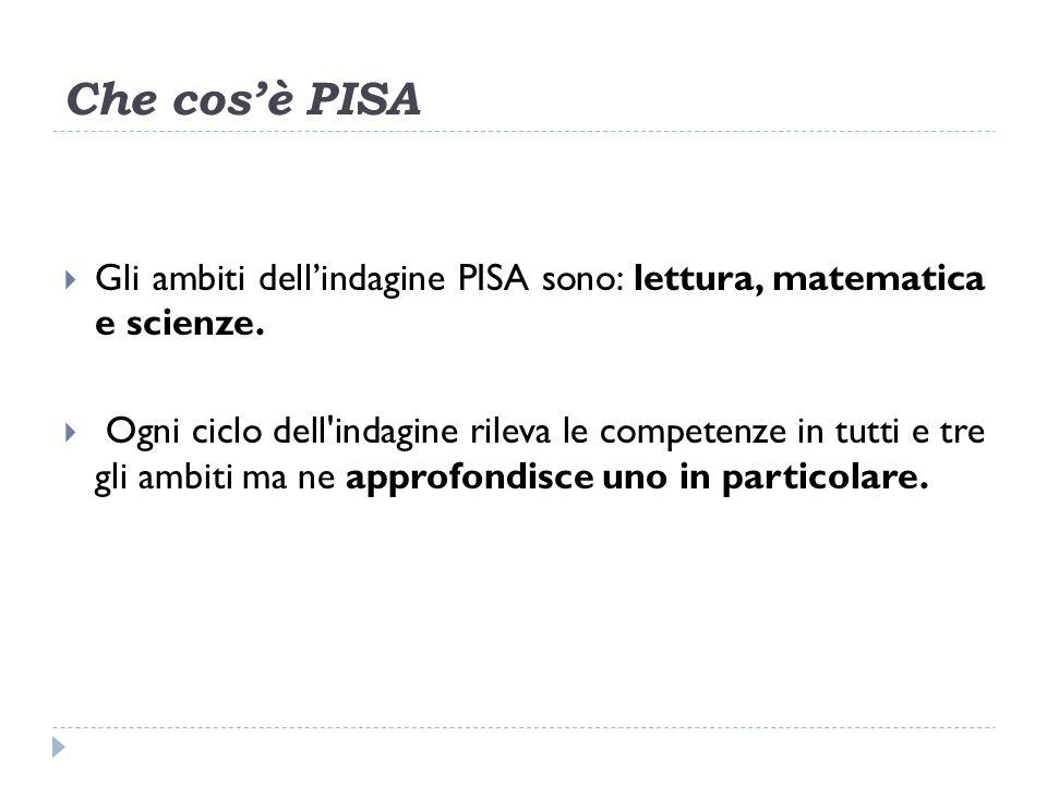 Che cosè PISA Gli ambiti dellindagine PISA sono: lettura, matematica e scienze.
