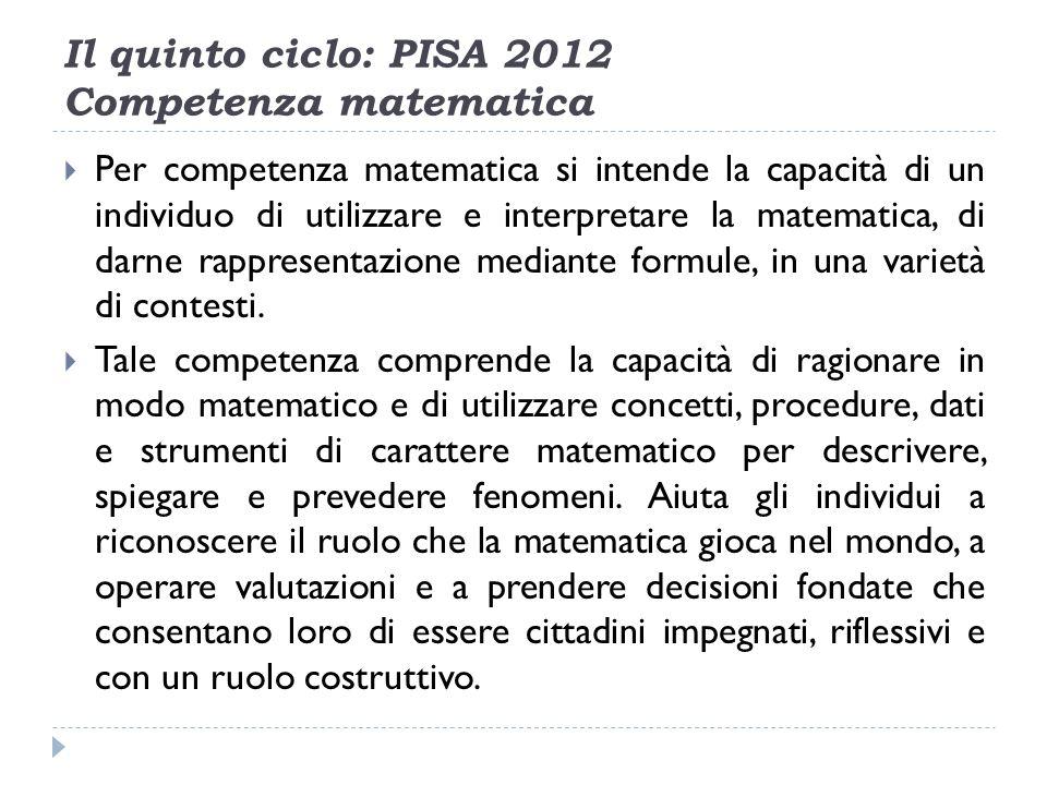 Il quinto ciclo: PISA 2012 Competenza matematica Per competenza matematica si intende la capacità di un individuo di utilizzare e interpretare la matematica, di darne rappresentazione mediante formule, in una varietà di contesti.