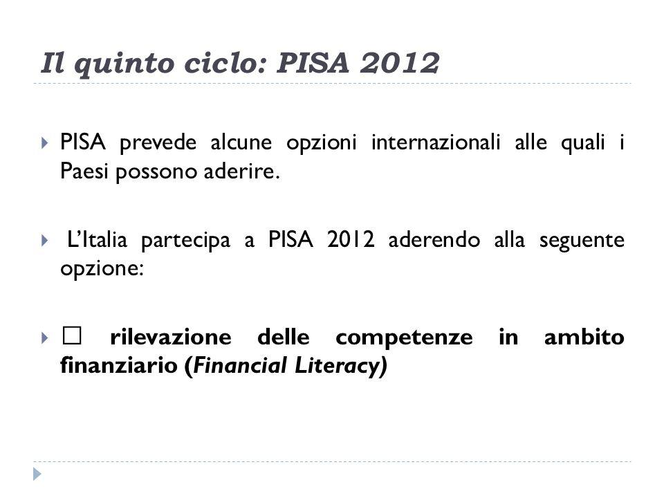 Il quinto ciclo: PISA 2012 PISA prevede alcune opzioni internazionali alle quali i Paesi possono aderire.