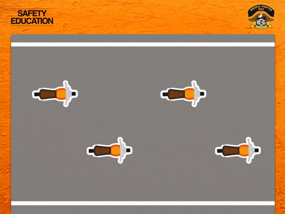 POSIZIONAMENTO SULLA CORSIA: Siete spaziati correttamente se potete vedere la faccia del motociclista che Vi precede nel suo SPECCHIETTO.