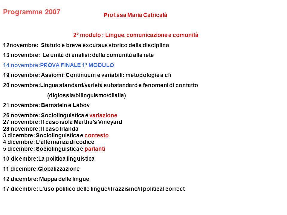 LIBRI DI TESTO 1° modulo Simone R., Fondamenti di linguistica, Bari, Laterza, 2006 o succ.