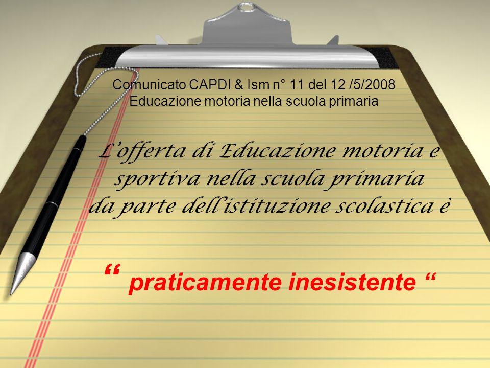 Comunicato CAPDI & Ism n° 11 del 12 /5/2008 Educazione motoria nella scuola primaria Lofferta di Educazione motoria e sportiva nella scuola primaria d