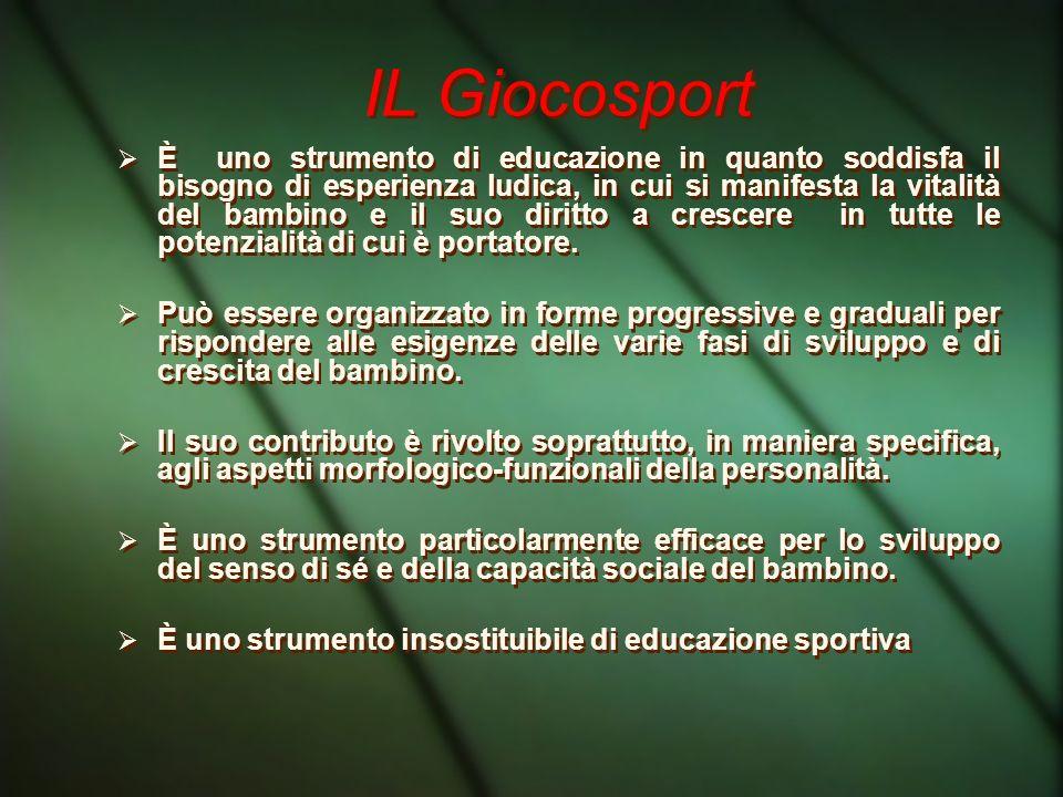 IL Giocosport È uno strumento di educazione in quanto soddisfa il bisogno di esperienza ludica, in cui si manifesta la vitalità del bambino e il suo d