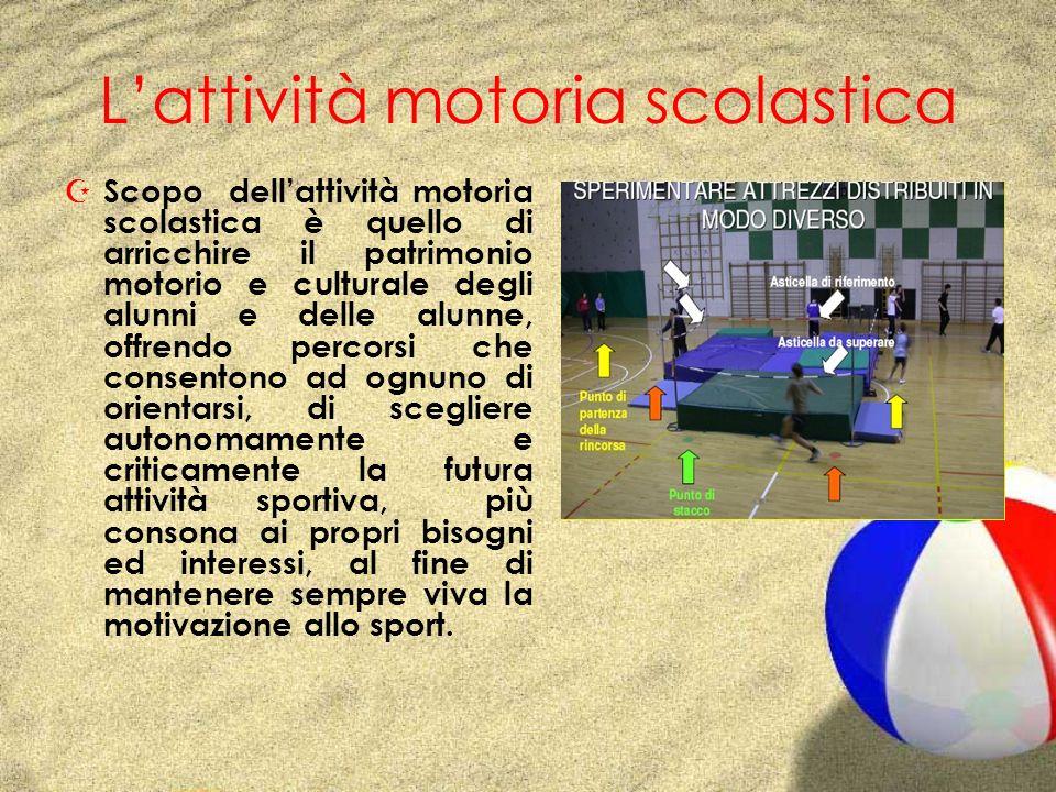 Lattività motoria scolastica Z Scopo dellattività motoria scolastica è quello di arricchire il patrimonio motorio e culturale degli alunni e delle alu