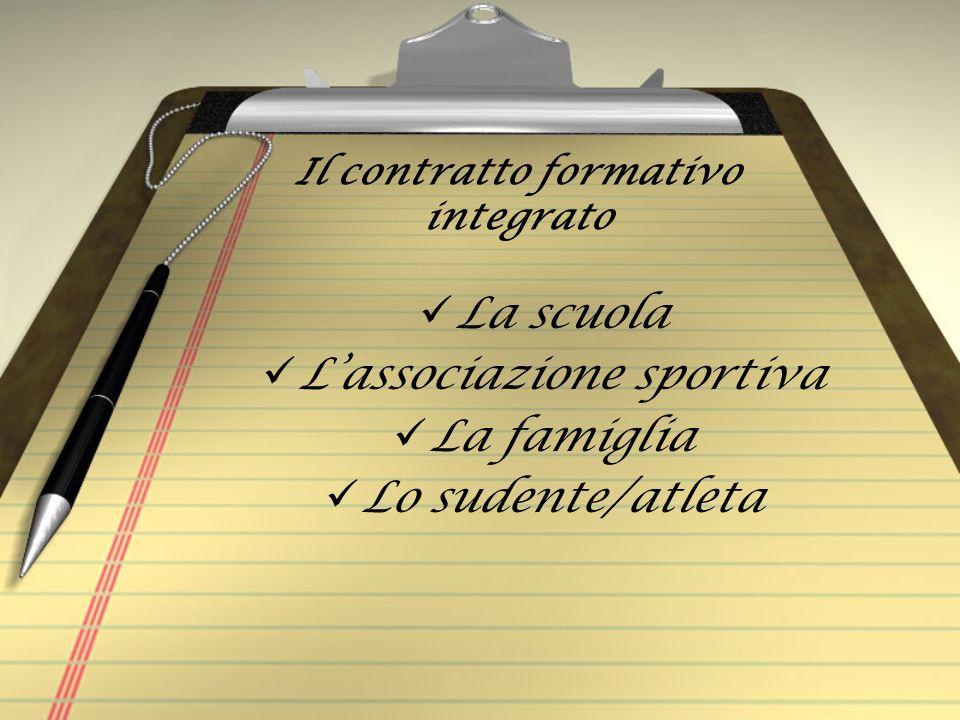 Il contratto formativo integrato La scuola Lassociazione sportiva La famiglia Lo sudente/atleta