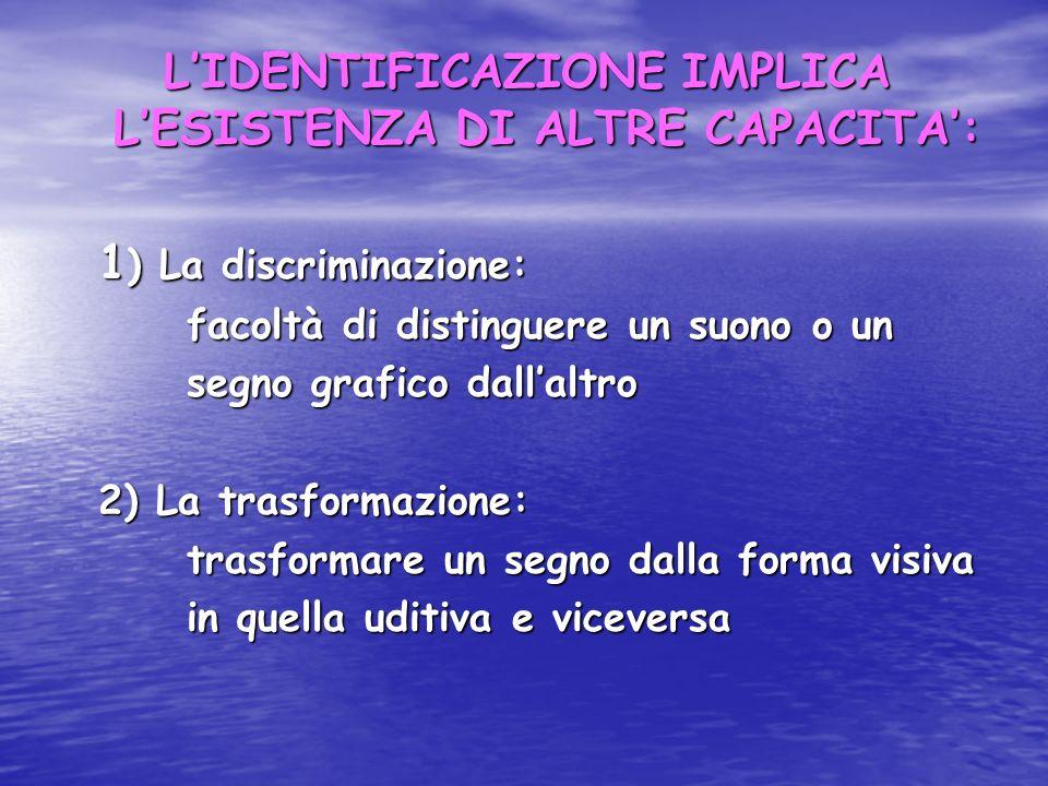 LIDENTIFICAZIONE IMPLICA LESISTENZA DI ALTRE CAPACITA: 1 ) La discriminazione: 1 ) La discriminazione: facoltà di distinguere un suono o un facoltà di