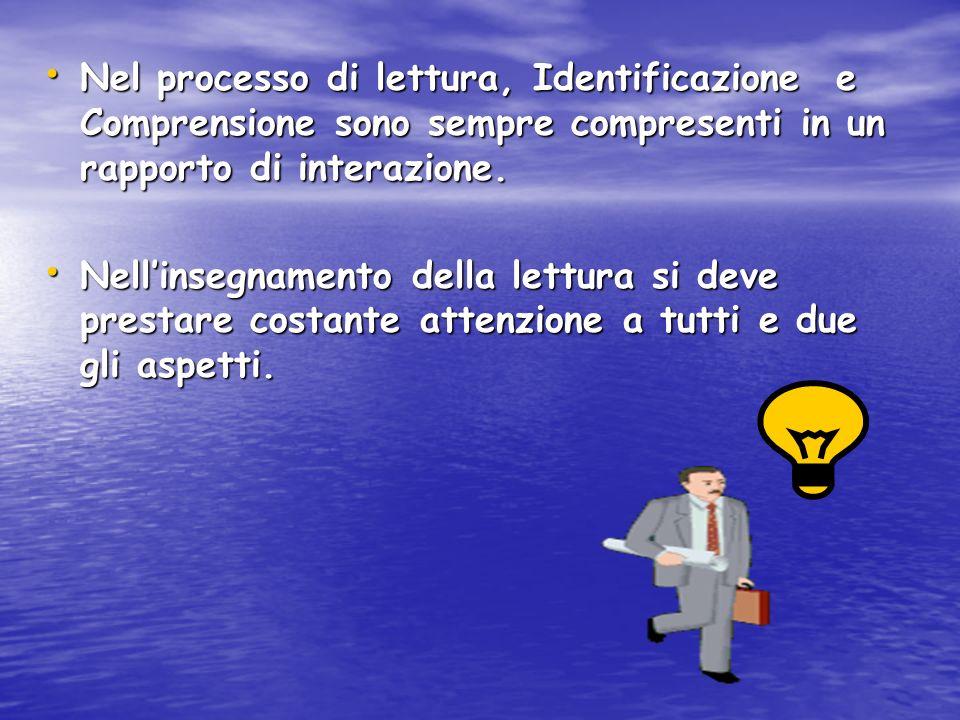 Nel processo di lettura, Identificazione e Comprensione sono sempre compresenti in un rapporto di interazione. Nel processo di lettura, Identificazion