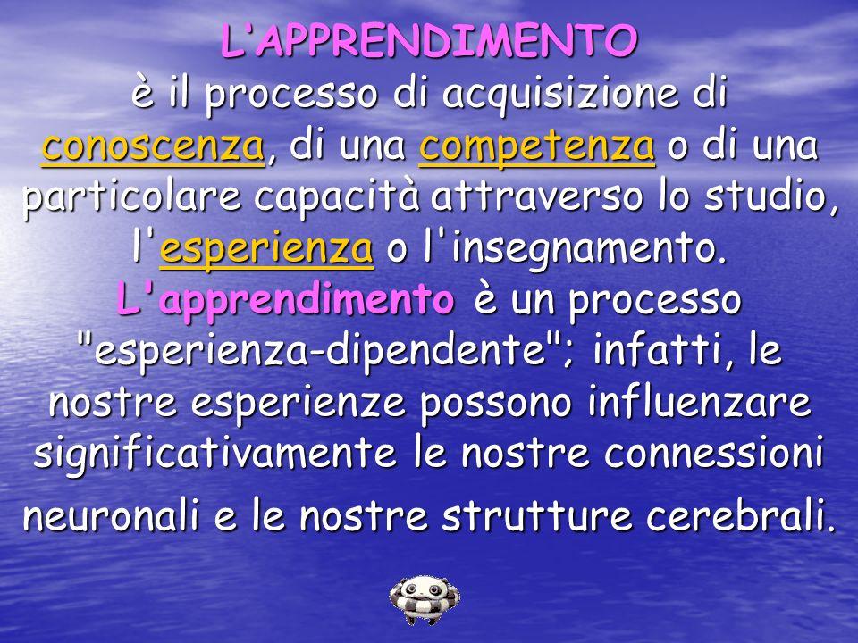 LAPPRENDIMENTO è il processo di acquisizione di conoscenza, di una competenza o di una particolare capacità attraverso lo studio, l'esperienza o l'ins